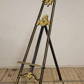 """6'5"""" Carved Black & Gilt Easel"""