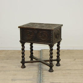 21'  x  15' Carved Oak Chest Table on Barley Twist Legs & Lift Up Lid