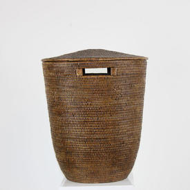 "21"" Dark Wicker Circular Linen Basket & Lid with Hole in Top"