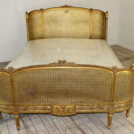 """7'8""""  x  5'3"""" Gilt Cane Bed Complete"""