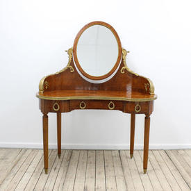 Walnut & Brass Kidney Shaped Dressing Table with Oval Mirror