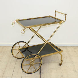 Brass & Black Glass Rect 2-Tier Drinks Trolley (W50Cm  x  D75Cm  x  H82Cm)