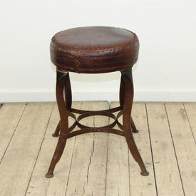 Low Circular Brown Leather Cross Stitched Stool on Metal Legs (H30Cm  x  W33Cm)
