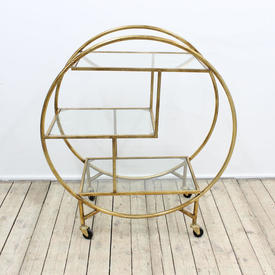 Gold Painted, Circ Shaped 3-Tier Trolley with 3 Glass Shelves