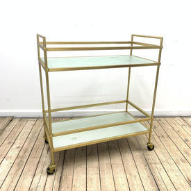 36Cm  x  20Cm Gilt 2 Tier Drinks Trolley with Frosted Glass Shelf