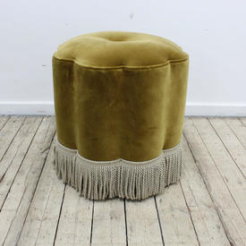 30S Style Green Velvet Uphol Petal Shape Stool
