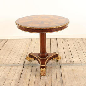 Mahogany Georgian Ped Base Circ Table with Gilded Decor Feet & inlaid Specimen Wood Top