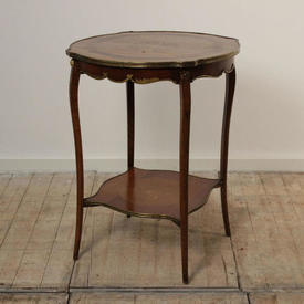 "1'10"" Mahogany & Brass 2 Tier inlaid Top French Empire Occasional Table"