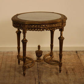 2' Gilded Oval Louis Occasional Table Marble inset
