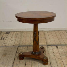 2' Circular Mahogany Georgian Style Pedestal Occasional Table with Gilt Decoration