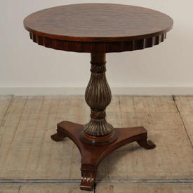 2' Circular Mahogany inlaid And Gilt Georgian Style Pedestal Occasional Table