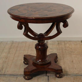 2' Circular Mahogany Georgian Globe Based Occasional Table with Black And Gilt Décor