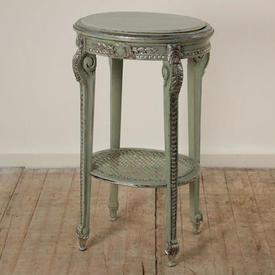 Green & Silver 2 Tier Occasional Table with Green Painted Marbilised Top