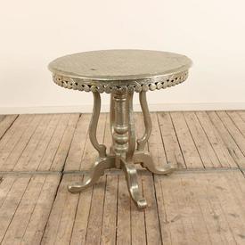 """2""""6 Silver Embossed Occ Table on Tulip Shape Legs"""