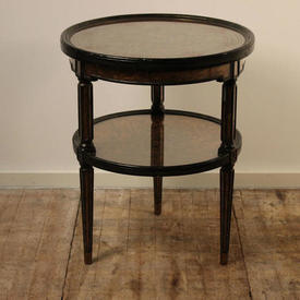 2' Circ Green And Gilded Crackle Finish 2-Tier Occ Table with inlaid Glass Top