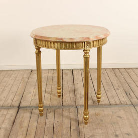 "2'3"" Circ Pink & White Marbleized Top Occasional Table on Fluted Gilded Legs  (H75Cm  x  69Cm)"