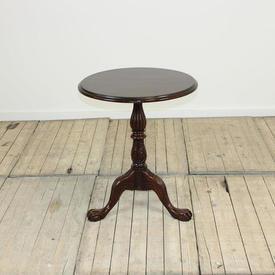 2' Circular Mahogany Carved Pedestal Occ  Table Tripod Claw Feet Base (W61Cm  x  H71Cm)