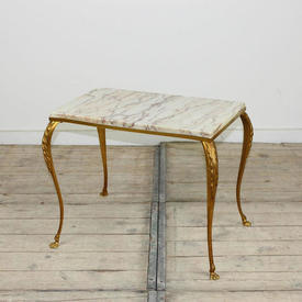 Large Rect 50 x 30Cm Gilt Framed Marble Topped Occ Table with Claw Feet Base