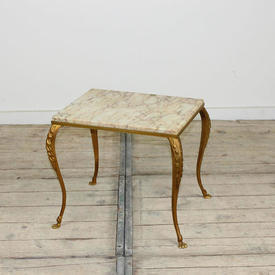 Medium Rect 40 x 30Cm Gilt Framed Marble Topped Occ  Table with Claw Feet Base