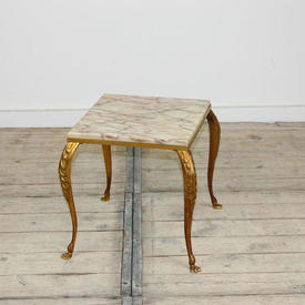 Small Square 30 x 30Cm Gilt Framed Marble Topped Occ Table with Claw Feet Base
