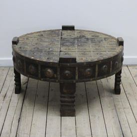 """2'4"""" Circ Oak & Brass Studded, Medieval Style Low Table with Lift Lid"""