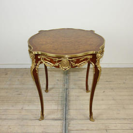 """2'8"""" Mahogany inlaid & Brass Occasional Table"""
