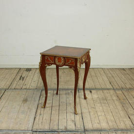 """1'8"""" Square Mahogany & Walnut with Gilt Bronze Decor Occ  Table, Marquetry inlaid Top"""