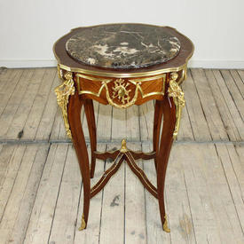 Mah & Brass Occ Table with Marble Top