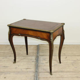 """2'5"""" High Rect  Rosewood & Kingswood Louis Style Occ  Table with Drawer & Ormolu Decor (2'5""""H  x  2'8""""W  x  1'7""""D)"""