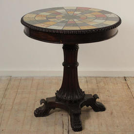 "Georgian Mahogany 2 Drawer 2'5"" Circular Marble Specimen Top Occasional Table on Single Fluted Pedestal Base"
