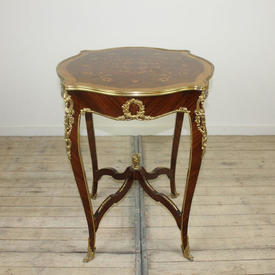 2' Circ Shaped Top, Brass Gilded Decor Occ Table with Marquetry Top & Cross Underframe