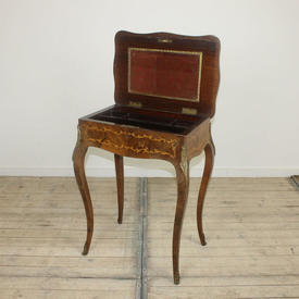 """1'10"""" Kingwood Marquetry inlaid, Flip Lid Work Table with Gilded Brass Decor (W55Cm  x  D38Cm  x  H72Cm)"""