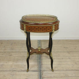 """1'11"""" Mah & Walnut Oval Work Table with Gilded Brass Decor & Parquetry inlaid Top"""