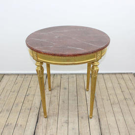 """2'3"""" Circular Gilt Occasional Table with Marbleized Top (W70Cm  x  H70Cm)"""