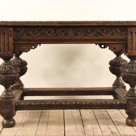 "3'6"" x  2'4"" Elizabethan Oak Table on Carved Bulbous Legs & Stretcher"