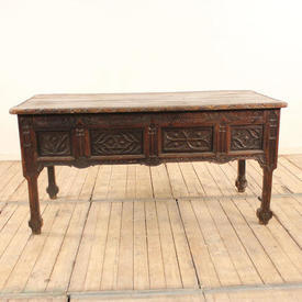 """4'10"""" x  2'2"""" Oak Ecclesiastical Altar Table on Gothic Shaped Legs, one Drawer At Either End"""