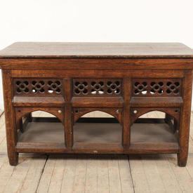 """4'3"""" x  2'3"""" Polished Oak Ecclesiastical Altar Table with Arched Sides & Undershelf"""