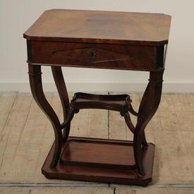 Mahogany inlaid Workbox Table