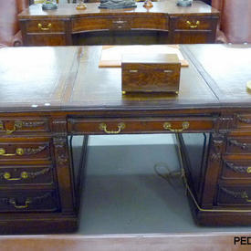 """7'6"""" Mahogany Milton Abbey Pedestal Desk with 3 Brown Leather Panel Top"""