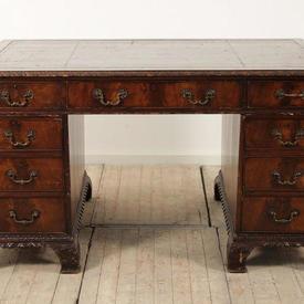 "4'10"" Mahogany Victorian Pedestal Desk, Brown Leather Top"
