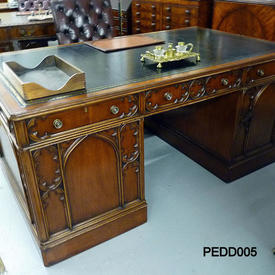 6' Mahogany Gothic Style Partners Desk with Black Leather Top