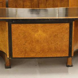 "6'8"" Walnut & Black Kidney Shape Deco Desk with Black Leather Top"