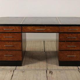"6'6"" Walnut & Black Deco Partners Desk with Black Leather Top"