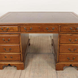 """4'10"""" Burr Walnut Partners Desk with Red Leather Top"""