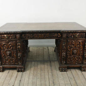 6' Heavily Carved Oak English Pedestal Desk with Brown Leather Top