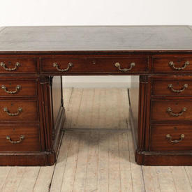 5' Mahogany Victorian Double Pedestal Partners Desk with Black Leather Top & Brass Side Handles