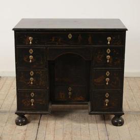 Black Lacquered Chinese Design Knee Hole Pedestal Desk