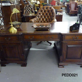 6' Mahogany Victorian Partners Desk with Burgundy Leather Top
