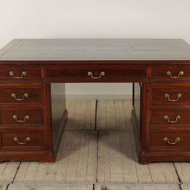 """5'4"""" Mahogany Victorian Partners Desk with Green Leather Top"""