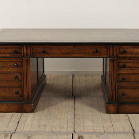 "6'6"" Regency Pollard Oak Partners Desk with Black Edging & Green Leather Top"